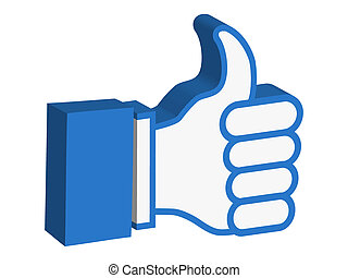 3d thumbs up icon - isolated 3d thumbs up icon on white...