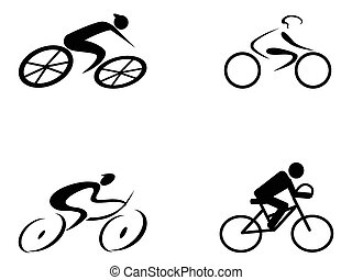 cyclist icons - four different style of cyclist icons on...
