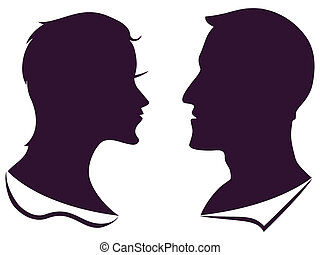 man and female profile silhouette - isolated man and female...