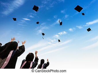 Graduate - back of chinese graduates with blue sky