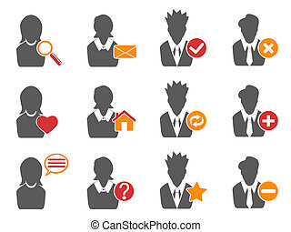 user icons set - isolated user icons set from white...