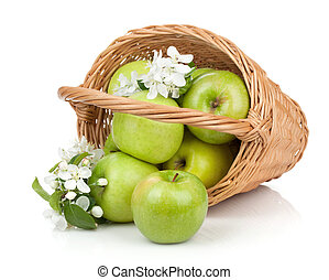 Fresh ripe green apples in basket Isolated on white...