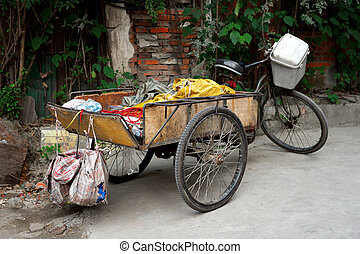 Chinese tricycle - Old traditional Chinese tricycle parked...