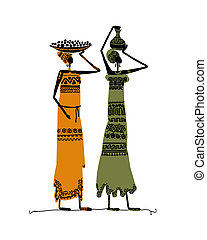 Hand drawn sketch of ethnic women with jugs