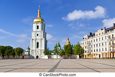 Sophia square in Kiev, Ukraine - View on bell tower and...