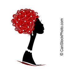 femininas, cabeça, silueta, seu, desenho