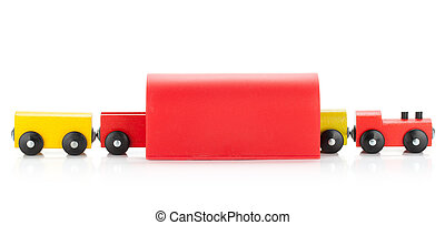 Wooden toy colored train in tunel. Isolated on white...