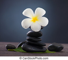 Stacked hot stones for massage spa and frangipani with green...
