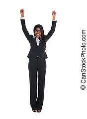 asian indian business woman celebrating success with black...