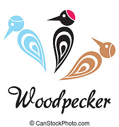 Woodpecker - Set of tree colorful stylized woodpecker icons...