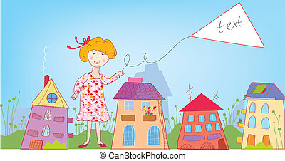 Happy child girl in the town with banner for text