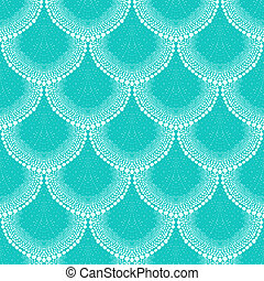 Pattern in art deco style in tropical aqua blue - Bold...
