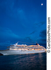 Cruise ship in venice at moonlight