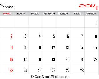 February 2014 - Design of a calendar month of february 2014...