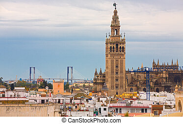 Giralda of Seville - The Giralda of Seville, cloudy day,...