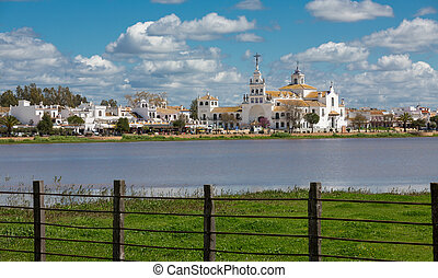 El Rocio - View of El Rocio and wooden fence, Andalucia,...