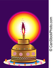 Indian Style Oil lamp illustration style
