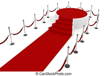 3d red carppet and podium on white background
