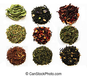 Tea assortment - Composition of nine teas (green, black,...