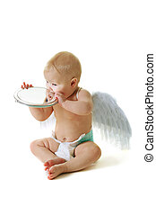 Angel baby - Baby with angel wings looking to the mirror