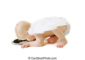 Angel baby - Baby with angel wings kissing her reflection in...