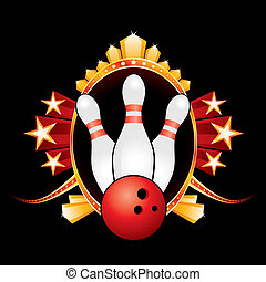 Bowling design - Gold badge with bowling symbol isolated on...
