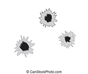 three bullet holes - bullet holes on a white background