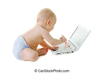Baby with a laptop - Little baby with laptop on a white...