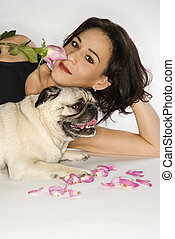 Woman with Pug dog - Caucasian prime adult female with Pug...