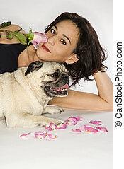Woman with Pug dog.