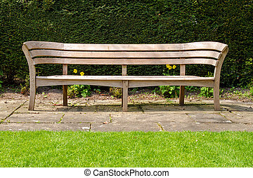 Empty wooden park bench, Avebury manor