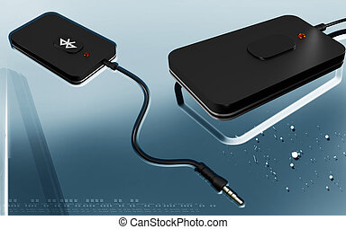 Bluetooth - Digital illustration of Bluetooth device in...