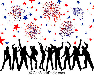 4th july independence day - Vector illustration of dancing...