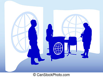Agencies - Vector image of tourist agencies and visitors