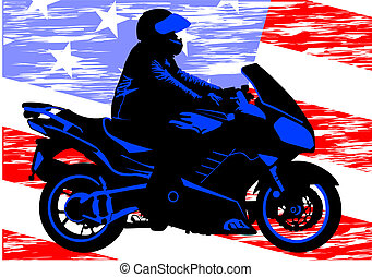 American motorcycle - Vector drawing a motorcycle on road