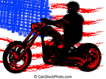 American motorcyclist - Vector drawing a motorcycle on road