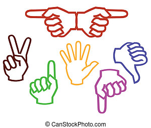 multicolored hands on a white background