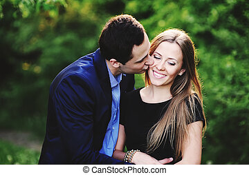 romantic Young couple outside bonding - romantic Caucasian...