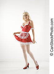 Woman in french maid oufit. - Blonde Caucasian young woman...