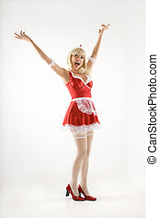 Happy woman. - Blonde Caucasian young woman in french maid...