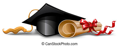 Graduation cap and diploma. Vector illustration.