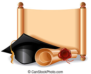 Graduation cap and diploma - Background with graduation cap,...