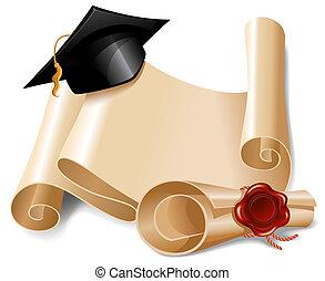 graduación, gorra, Diploma