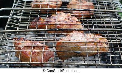 Sirloin steak prepared on the barbe