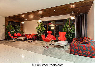 Woodland hotel - Hall - Woodland hotel - Hotel hall with red...