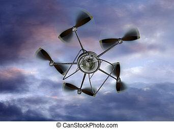 UAV Helicopter Camera - Illustration of a UAV helicopter...