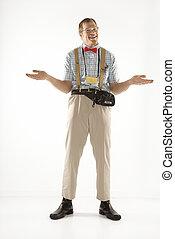 Man shrugging shoulders. - Caucasian young man dressed like...