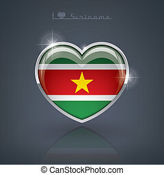 Suriname - Glossy heart shape flags of the Worlds: Republic...