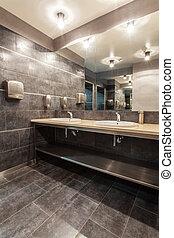 bosque, hotel, -, público, cuarto de baño
