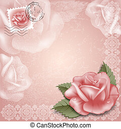 Greening cards - Vintage greeting cards with rose.